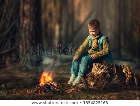 Portret chłopca patrząc ognia christmas Zdjęcia stock © mady70