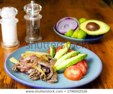 ストックフォト: ビーフステーキ · メキシコ料理 · スタイル · 小さな · 豆 · 食品