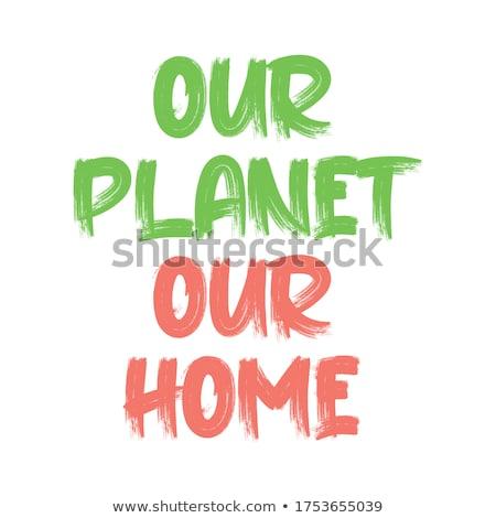 Kurtarmak gezegen poster vektör soyut dünya Stok fotoğraf © burakowski
