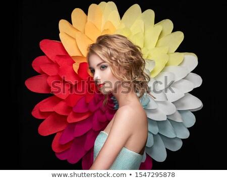 rosto · sorridente · mulher · sensual · retrato · glamour - foto stock © arenacreative