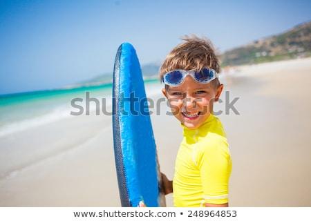 Fiú jókedv szörfözik hullámok arc nyár Stock fotó © meinzahn