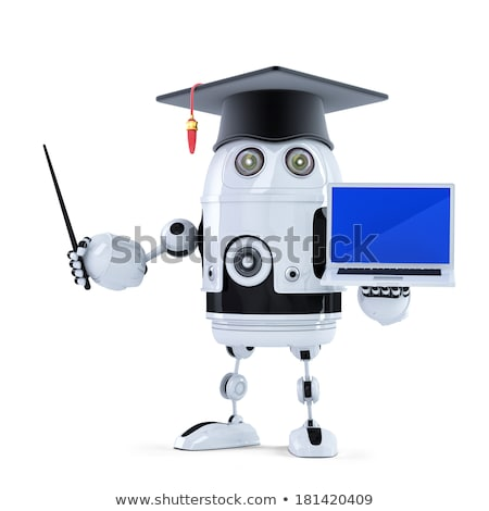 Student robot laptop geïsoleerd internet onderwijs Stockfoto © Kirill_M