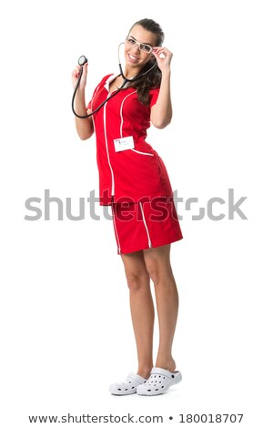 Pretty  spectacled women  doctor with stetoscope  in red dress Stock photo © Geribody
