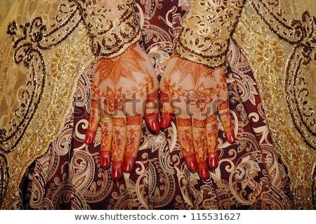 Henna kezek indonéz esküvő menyasszony divat Stock fotó © antonihalim