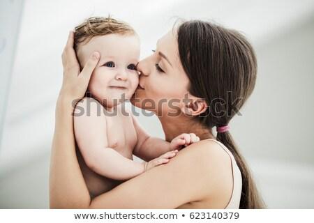 anya · nappali · csók · baba · lány · boldog - stock fotó © nejron