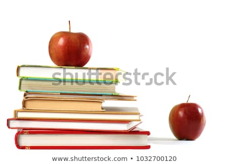 book stack with fruits isolated on white background stock photo © natika