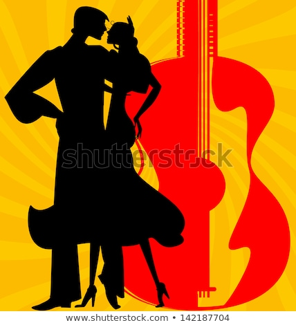 Abstract retro girl on red - vector illustration Stock photo © sdmix