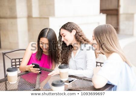 グループ 座って 屋外 カフェ 友達 ストックフォト © monkey_business