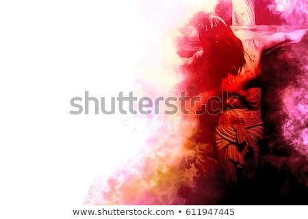 Jézus · ősi · templom · húsvét · kereszt · ablak - stock fotó © andromeda