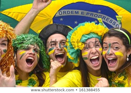 幸せ · ファン · ブラジル · フラグ · 笑顔 · サッカー - ストックフォト © anna_om