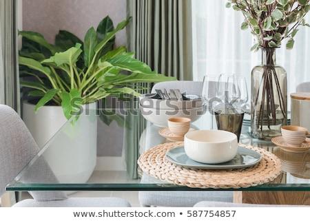 Asztal üveg szett üres átlátszó zsonglőr Stock fotó © make