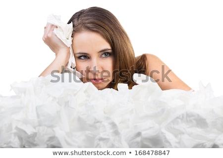 若い女の子 冷たい 花粉症 季節の 座って ストックフォト © stryjek