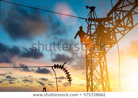 высокое напряжение башни Blue Sky небе области промышленности Сток-фото © meinzahn