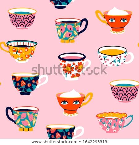 Café chá ilustrações restaurante beber copo Foto stock © Slobelix