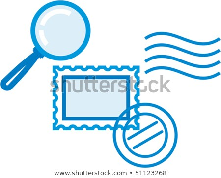 Vector philately and postal items illustration – post stamps and magnifying glass   stock photo © Mr_Vector