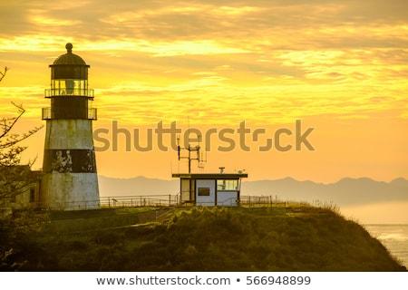 Csalódás világítótorony naplemente Washington part erőd Stock fotó © Frankljr