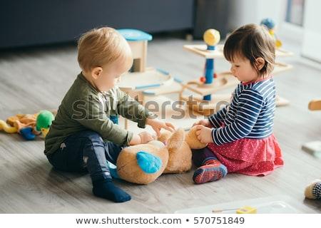 Játszik kisgyerek aranyos játék teherautó autó Stock fotó © lorenzodelacosta