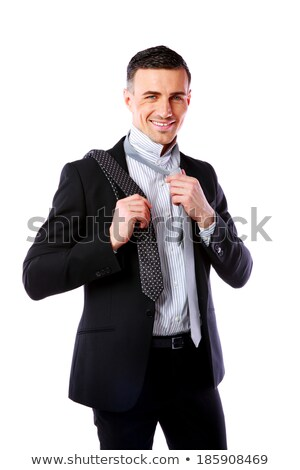 Happy businessman wonders which necktie to choose Stock photo © deandrobot