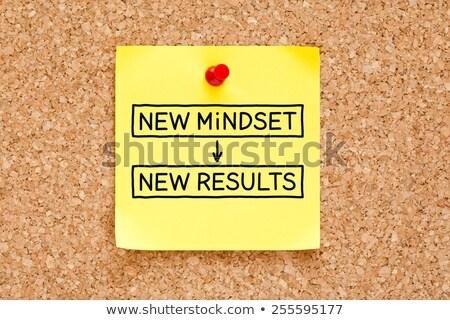 nuevos · mentalidad · resultados · mano · escrito · negro - foto stock © ivelin