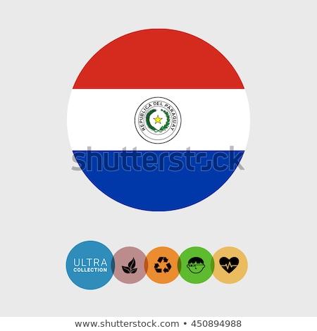 Tér ikon zászló Paraguay fém keret Stock fotó © MikhailMishchenko