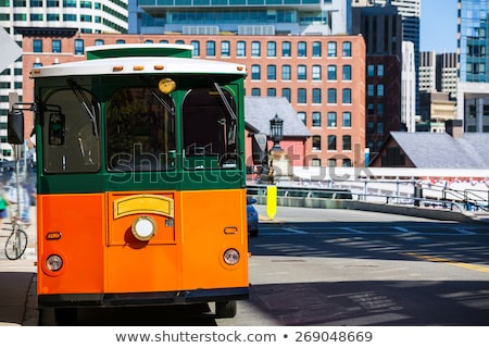 boston trolley at congress street bridge stock photo © lunamarina