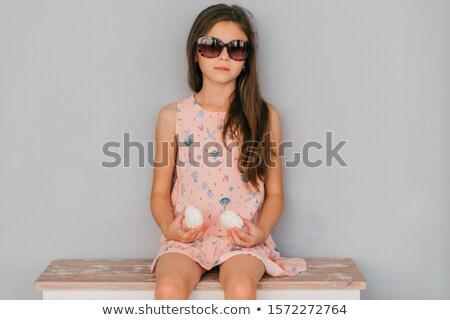 hermosa · jóvenes · morena · mujer · pelo · posando - foto stock © master1305