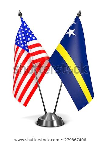 USA miniatuur vlaggen geïsoleerd witte achtergrond Stockfoto © tashatuvango