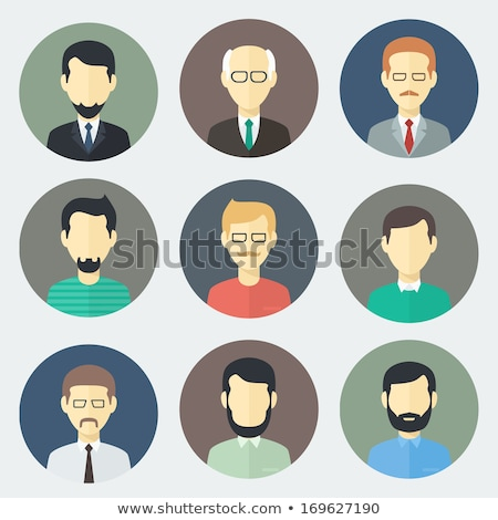 men characters flat circle icons set stock photo © anna_leni