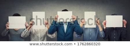 Kadın gizleme kafa boş kağıt beyaz güzellik Stok fotoğraf © wavebreak_media