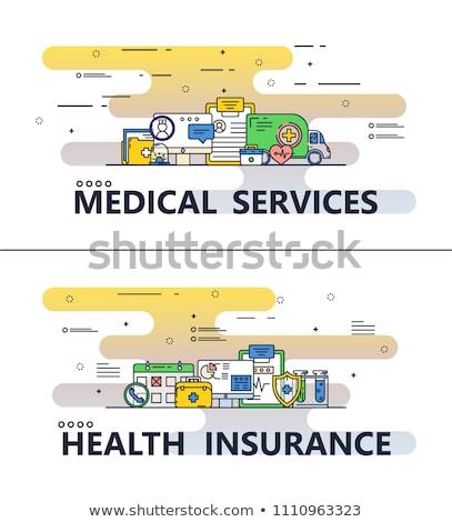 Vector Flat Line Art Modern Medicine and Healthy Life Icons Set Stock photo © Anna_leni