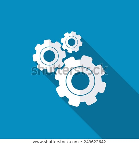Settings Icon. Gear with Blue Background. Long Shadow. Flat Styl Stock photo © WaD