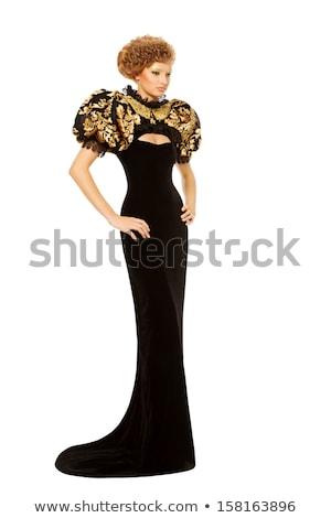 szőke · haj · lány · fekete · estélyi · ruha · izolált - stock fotó © elnur