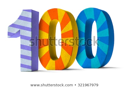 Colorful Paper Mache Number on a white background  - Number 100 Stock photo © Zerbor