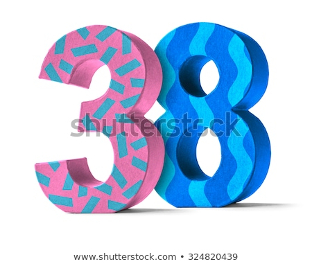 Colorful Paper Mache Number on a white background  - Number 38 Stock photo © Zerbor