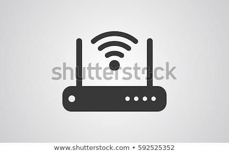 modem · ferragens · linha · ícone · vetor · isolado - foto stock © kiddaikiddee