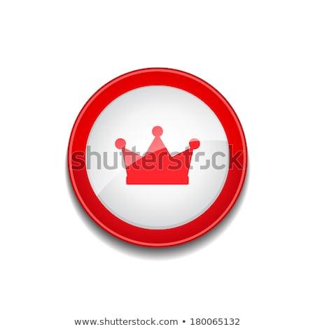 корона вектора красный значок кнопки Сток-фото © rizwanali3d