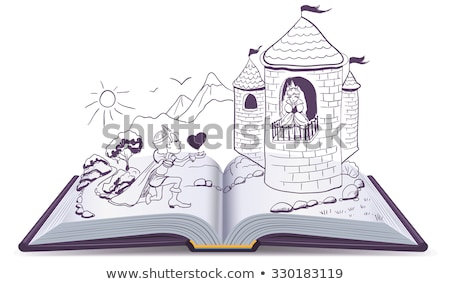 Stock photo: Knight is kneeling in front of princess in castle. Open book
