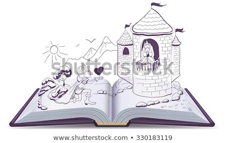 Knight is kneeling in front of princess in castle. Open book Stock photo © orensila