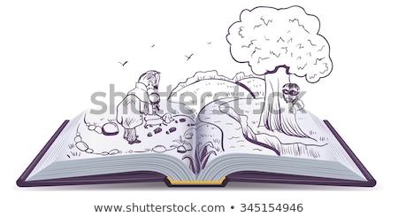 Açık kitap dedektif köpek bakıyor örnek vektör Stok fotoğraf © orensila