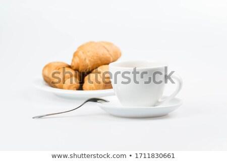 Taza de café croissants madera restaurante mesa desayuno Foto stock © Zerbor
