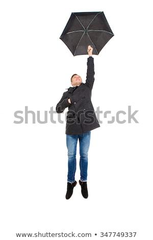 férfi · kabát · esernyő · stúdió · felnőtt · kéz - stock fotó © deandrobot