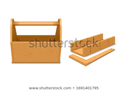 Stock photo: Vector of wooden toolbox with tools.
