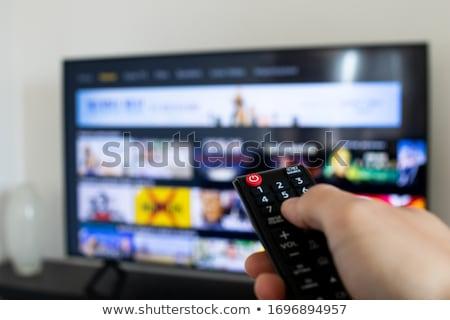 クローズアップ スマート フラットスクリーン テレビ 孤立した 白 ストックフォト © AndreyPopov