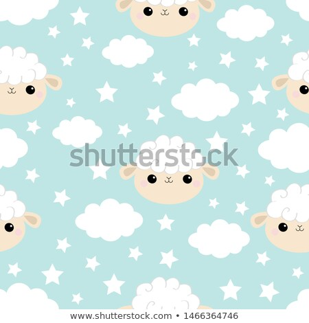 Stock photo: baby counting sheeps in the night