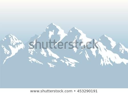 Foto stock: Neve · montanha · vetor · projeto · ilustração · vertical