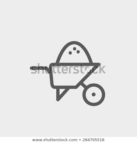 Wheelbarrow full of sand line icon. Stock photo © RAStudio