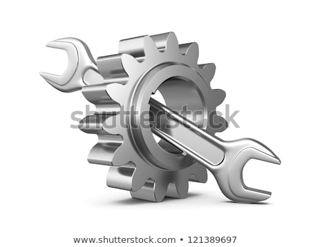 wrench and gear wheel in 3D-design Stock photo © djdarkflower
