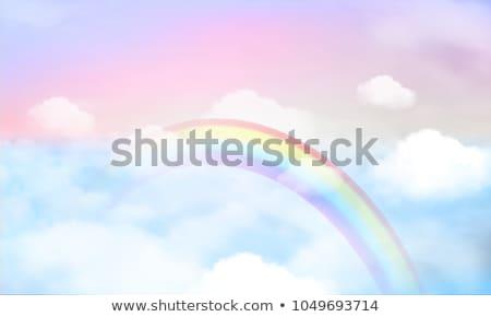 çocukça · gökkuşağı · çizim · iki · bulutlar · yer - stok fotoğraf © zsooofija