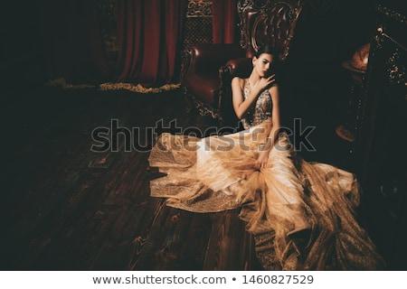 beautiful lady posing in a vintage interior stock photo © konradbak
