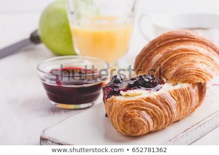 croissants · jam · ontbijt · witte · plaat · exemplaar · ruimte - stockfoto © filipw